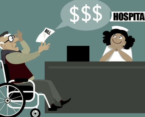 Illustration of guy in wheelchair holding expensive medical bill from smiling hospital worker