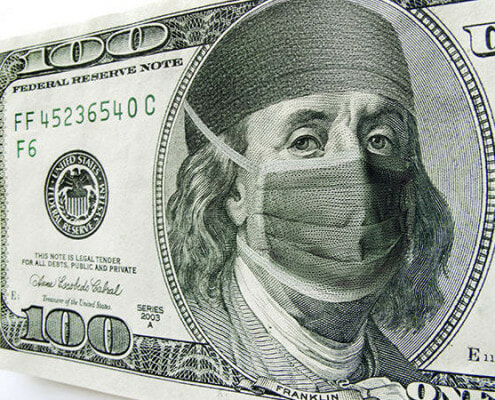 Dollar Bill with medical mask over George Washington's Face
